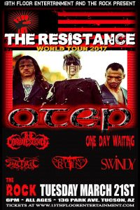 13th Floor Ent & The Rock Presents Otep W/ The Convalescence & One Day Waiting