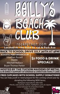 Reilly's Beach Club Free Patio Bash Hosted By The Tucson Maidens Of Metal School Supply Drive